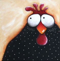 "Original acrylic painting canvas whimsical farm animal bird Chicken soup 12x12"" #Whimsicalfolkart"