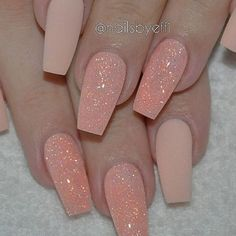 "9,803 Likes, 92 Comments - ʜαɪʀ & ɴαɪʟ ғαsʜɪøɴ (@hairandnailfashion) on Instagram: ""This peach matte glitter by @nailsbyeffi though """