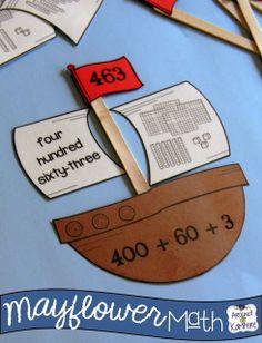 Mayflower Math: 8 Mayflower themed math stations plus a Mayflower math craft/hallway display! For Gr. 2-3$