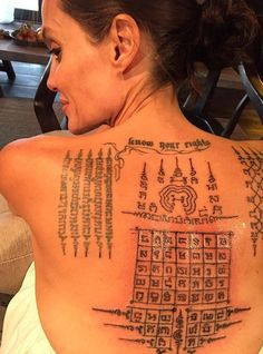 In February 2016, Angelina Jolie met with Ajan Noo for several more Yantra tattoos and incantations. Angelina Jolie received 3 new tattoos on her back. Angelina Jolie's spirituality is reflected through her Yantra tattoos, a pride shared by both master and disciple.