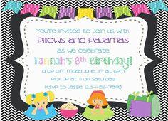 Slumber Party Invitation by FarmSchoolPrints on Etsy