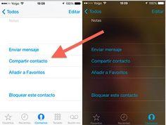 La integración del sistema de mensajería propio de iOS, iMessages, permite enviar los contactos de tu agenda con un par de clicks a quien tu quieras