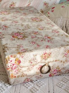 Vintage rosy French fabric covered box