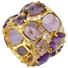 Crislu Ring, 18k Gold Over Sterling Silver Lavender Cubic Zirconia Candy Couture Ring (21 Ct. T.W.)