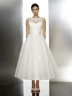 Moonlight Tango T608 vintage style tulle tea length lace bridal dress with lace appliques and sash