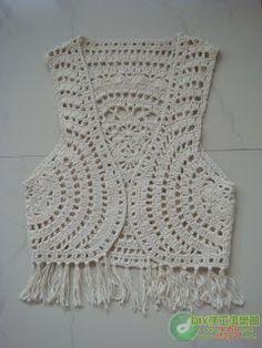 Katia Ribeiro Crochê Moda e Decoração Handmade : Colete em crochê com pap