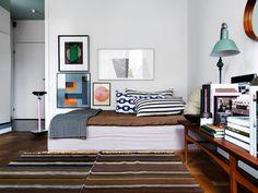 Blog wnętrzarski - design, nowoczesne projekty wnętrz: Małe mieszkanie z niebieską kuchnią