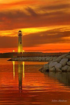 Wawatam Lighthouse in St. Ignace, Michigan by John Absher