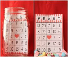 Valentine's Day Bingo Jars - an easy holiday project and fun for a Valentine's Day Party! Valentine Bingo, Fun Valentines Day Ideas, My Sweet Valentine, Valentines Day Cookies, Valentines Day Activities, Valentines Day Party, Valentine Day Crafts, Heart Bingo, Cookie Exchange Party