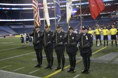 Members of the Cranston Police Department honor guard presented colors at Gillette Stadium on Nov. 2. (Photo: New England Revolution)