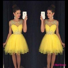 Homecoming Dress,Homecoming Dresses,Sweet 16 Dress,2018 Homecoming Dress,Yellow Cocktail Dress PD20181816