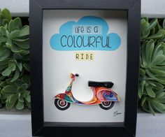 """Quilled Paper Art """"Life is a colourful ride"""" by SenaRuna.  Saw this and want to make similar for someone."""