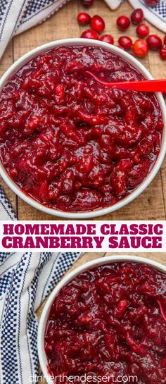 Easy Cranberry Sauce - Dinner, then Dessert Easy Cranberry Sauce made with just four ingredients and in just 10 minutes! You'll never buy the canned variety again! Fresh Cranberry Recipes, Canned Cranberry Sauce, Cranberry Dessert, Cranberry Sauce For Turkey, Easy Thanksgiving Recipes, Holiday Recipes, Holiday Meals, Canned Cranberries, Dessert Recipes