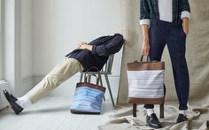 Capturing the awkward moment with Catherine Dang Beech tote bag & Elm backpack made from ikat fabric & cork textile.
