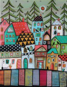 Pines ORIGINAL CANVAS PAINTING Folk Art Abstract Birds Cats Houses City Karla G #FolkArtAbstractPrimitive