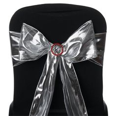 5 PCS Silver Shimmering Polyester Chair Sashes Catering Wedding Party Decorations - x - ChairCoverFactory Wedding Chair Sashes, Wedding Sash, Wedding Chairs, Chair Bows, Chair Fabric, Banquet, Silver Wedding Decorations, Wedding Centerpieces, Lame Fabric