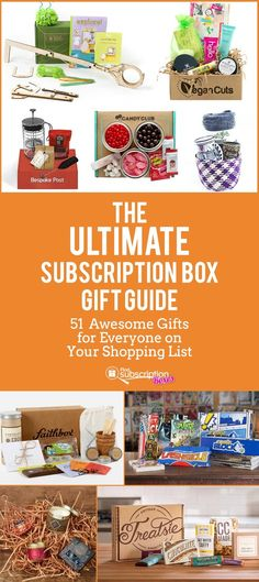 Looking for the perfect gift? Check out our Ultimate Subscription Box Gift Guide to find 51 awesome boxes for everyone on your shopping list. Monthly gifts for husbands, wives, in-laws, kids and more! http://www.findsubscriptionboxes.com/magazine/ultimate-subscription-box-gift-guide/?utm_campaign=coschedule&utm_source=pinterest&utm_medium=Find%20Subscription%20Boxes&utm_content=The%20Ultimate%20Subscription%20Box%20Gift%20Guide