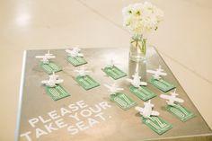 Emerald Green escort cards // photo by http://justindemutiisphotographyblog.com, design by http://ashtonevents.com