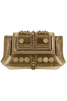 bea valdes kidlat 20 clutch in gold gold on gold with a luxe tribal