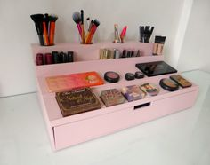 Makeup organizer display with XL drawer many colors Alex 5 Drawer, Ikea Linnmon Desk, Square Halo Engagement Rings, Ikea Alex, Glam Makeup, Beauty Room, Makeup Organization, Make Up, Hair And Nails