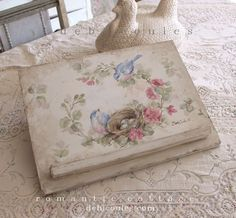 Shabby Vintage Bluebird Roses and Nest Bookstand - Debi Coules Romantic Art