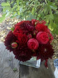 red rose and dahlia centerpiece - LOVE