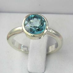 Sky Blue Zircon Sterling Silver Ring  MADE TO ORDER  by ChadaSoph, $168.00