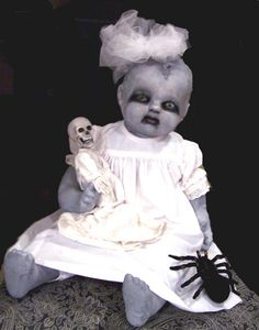Creepy eyed dolls baby babies creepiest, The only one I ever made,,she was for secret reaper.I spray painted her with gray primer and then just experimented.I should have grunged her dress now that I look back Halloween Forum, Halloween Doll, Outdoor Halloween, Halloween 2017, Holidays Halloween, Halloween Themes, Halloween Crafts, Halloween Party, Halloween Decorations