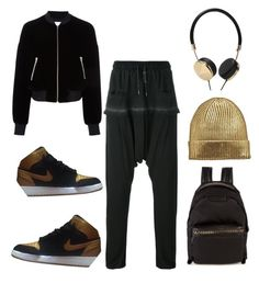 """""""black and gold jordans"""" by im-karla-with-a-k on Polyvore featuring T By Alexander Wang, Army of Me, NIKE, Frends and STELLA McCARTNEY"""