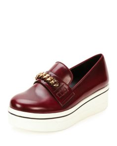 STELLA MCCARTNEY Binx Faux Leather Chain-Strap Loafer, Cordovan/Cornelia. #stellamccartney #shoes #flats