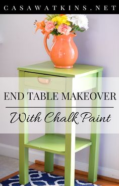 Love the green color of this end table makeover! So much better than the before photo.