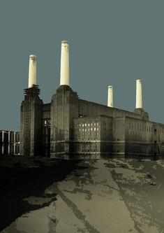 London - Battersea Power Station - Soft Blue Greys Print by Big Fat Arts Prison, London Brighton, London Art, London Drawing, London Painting, Art Deco Stil, Battersea Power Station, Grey Artist, Fat Art