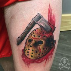 Rad Friday the 13th tattoo by Chris Curtis.  #12ozstudios #team12oz #tattoo #tattoos #tattooed #tattooart #tattooartist #inked #fridaythe13th #jason #horror #horrormovies #colortattoo #neotraditional #neotraditionaltattoo