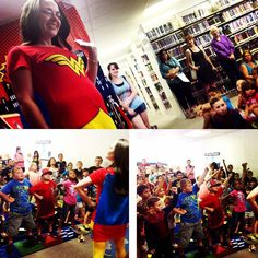 Enjoying #SuperheroTraining at the library for the #SummerReadingClub. Today's activity is being run by #WonderWoman herself (aka #ChildrensLibrarian Alyssa Crow). Having fun with #stories, learning #SuperheroPoses and more. #AbilenePublicLibrary #Events #Program #Kids #Youth #Reading #Costumes #librarian #Parents