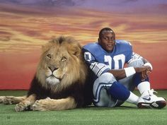 Barry Sanders, a lion, and a pastel sunset