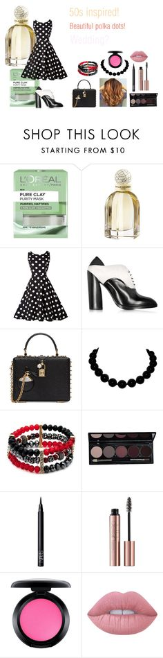 """""""For Michelle (sister) - Michelle's ideal wardrobe by me: 50s!"""" by sarah-m-smith ❤ liked on Polyvore featuring L'Oréal Paris, Balenciaga, Jil Sander, Dolce&Gabbana, New Directions, NARS Cosmetics, MAC Cosmetics and Lime Crime"""
