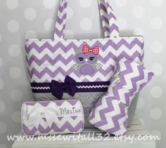 XL Quilted Purple / Lavender Chevron / Zig Zag / Owl Applique Diaper Bag Set - Changing Pad - Wipes Case by MsSewItAll32 on Etsy https://www.etsy.com/listing/196350250/xl-quilted-purple-lavender-chevron-zig