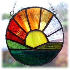 Sunrise Picture Stained Glass Suncatcher Sun Ring Handmade