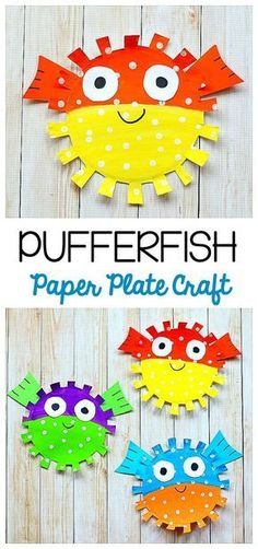 Paper Plate Pufferfish Craft for Kids: Easy fish craft for children perfect for a unit on the ocean, sea life, or just to make for fun! Provides fine motor practice and scissor cutting practice too! ~ BuggyandBuddy.com #artsandcraftsideasforkids,