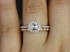 Ultra Petite Kubian & Ultra Petite Bead Eye 14kt Peach Sapphire and Diamonds Halo Wedding Set