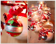 Homemade Winter Candle uses clear wide mouthed jar, filled with Epsom salts and tied off with red shiny ribbon and Christmas Ornament. If you put the candle in glass votive candle and putting it into the Epsom Salts the candle will burn better and longer. Snow Globe Mason Jar, Christmas Mason Jars, Mason Jar Candles, Christmas Candles, Mason Jar Crafts, Mason Jar Diy, Diy Candles, Winter Christmas, Christmas Decorations