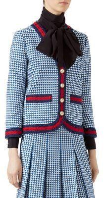 Gucci Web-Trimmed Knit Wool V-Neck Jacket