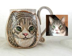 Choose the custom option in my cat loaf mug listing. It is a handmade mug that is hand painted with glazes to match your cat, this customer wanted eyes opened. This is a permanent, dishwasher and microwave safe mug. You can also contact me through my email. susanaltenau@gmail.com All Black Cat, Name Mugs, Cat Mug, Great Birthday Gifts, Pottery Mugs, Dog Portraits, Ceramic Mugs, Cat Gifts, Microwave