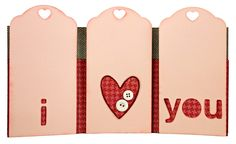 What a fun and unique Valentine's Day Card! Three-pocket, tri-fold tag card.
