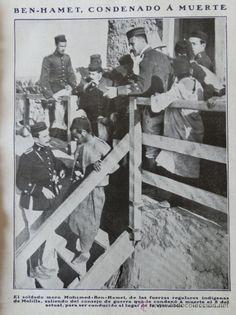 Condena y fusilamiento de Ben Hamet Guerra del Rif Marruecos. Reportaje grafico 1912. 5 Hoja Revista