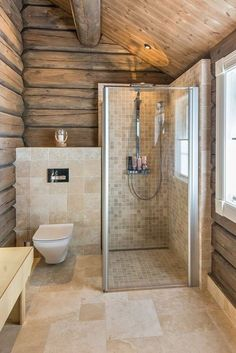 Shower room in a wooden house! How do you like this design? In my opinion it looks very . Log Home Bathrooms, Rustic Bathrooms, Dream Bathrooms, Small Bathroom, Neutral Bathroom, Bathroom Black, Bathroom Mirrors, Master Bathrooms, Bathroom Cabinets