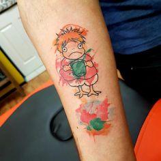 Watercolour Ponyo by Martha Rose, Southsea Tattoo Co, Portsmouth, UK Cute Tattoos, Leg Tattoos, Body Art Tattoos, Tatoos, Studio Ghibli Tattoo, Tattoo Studio, Sick Tattoo, Mother Tattoos, Aesthetic Tattoo