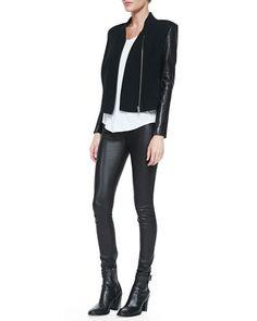 black blazer, white top, black pants