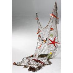 Blue-white-fishing-net-wall-bar-decoration-ceiling-dollarfish-hangings. decoración red pesca marina