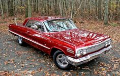 1963 Chevrolet Impala metallic red 283 4bbl V8, 2 speed powerglide 409 Click to Find out more - http://fastmusclecar.com/1963-chevrolet-impala-metallic-red-283-4bbl-v8-2-speed-powerglide-409/ COMMENT.